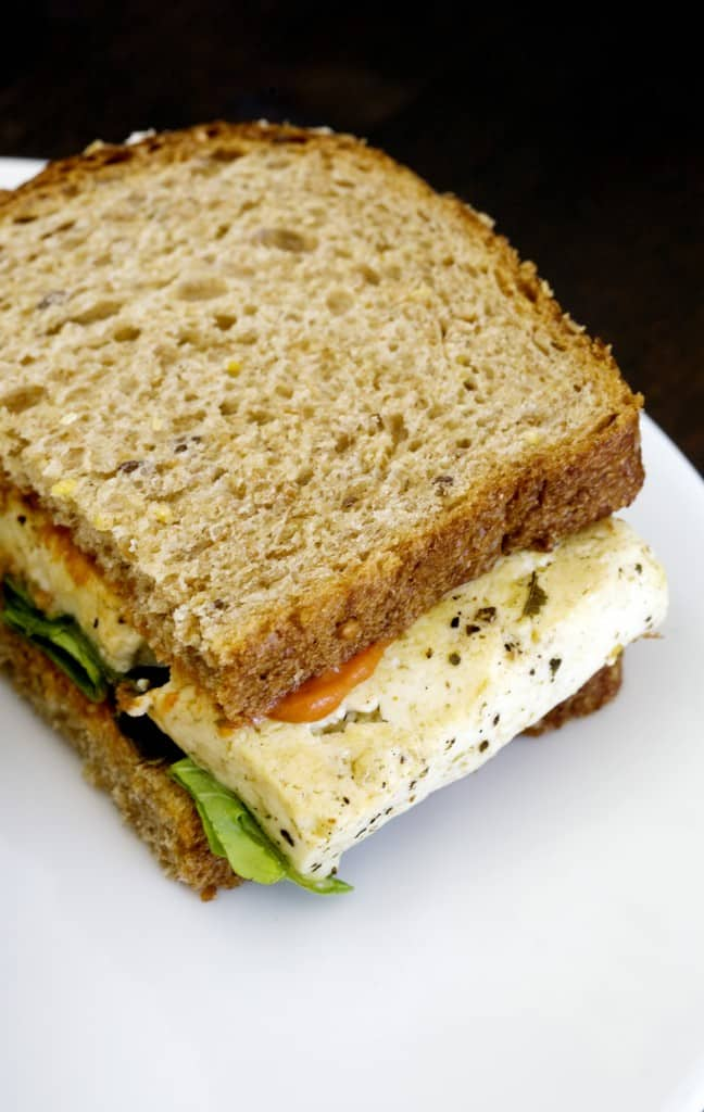 Marinated Tofu Sandwich with Tomato Red Pepper Flake Spread | Food ...