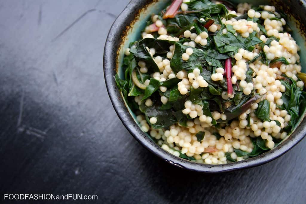 couscous, swiss chard, pasta, side dish, vegetables