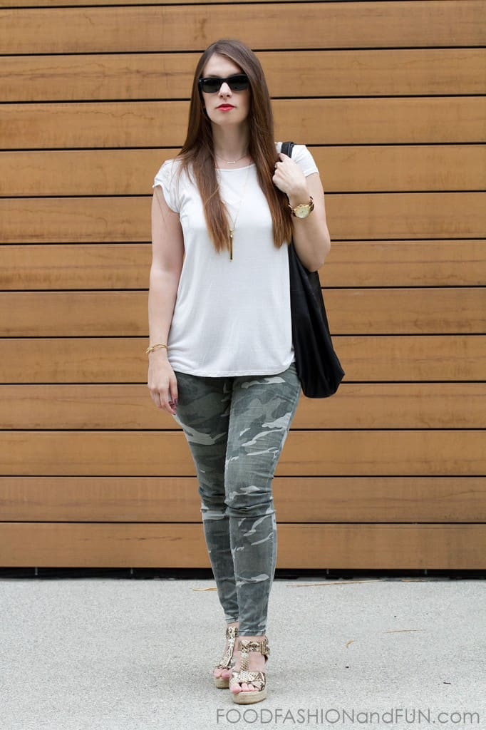Cream, blouse, sheer, forever21, camp, camouflage, skinny pants, black, mango, leather handbag, ray ban, sunglasses, outfit post, outfit of the day, foodfashionandfun, kohl's