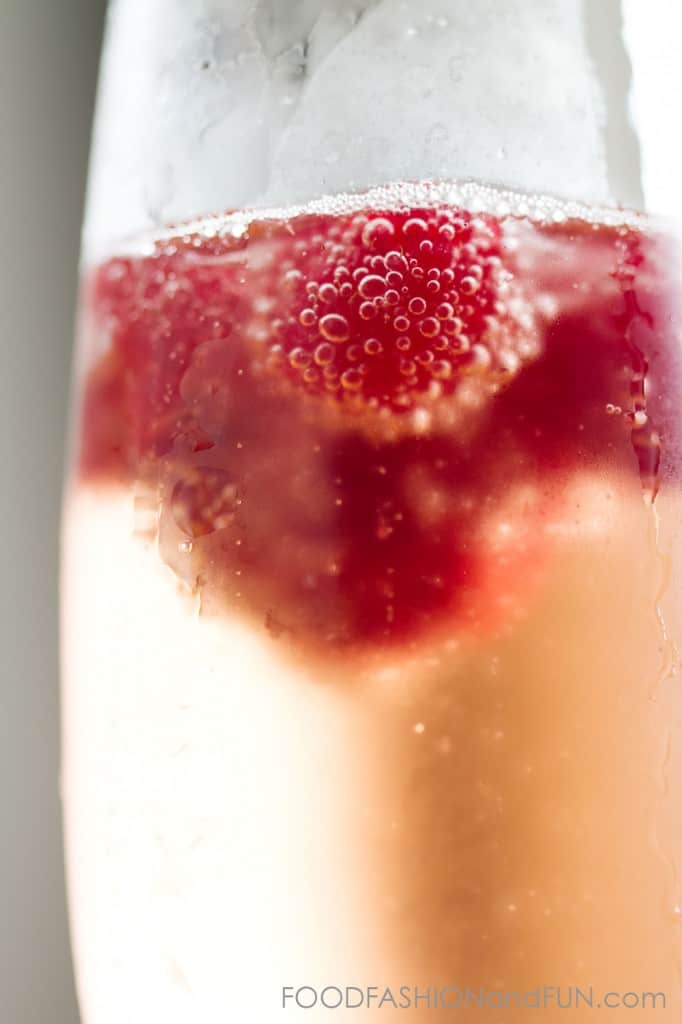 Raspberries and Rose. Champagne cocktail that's perfect for Valentine's Day!