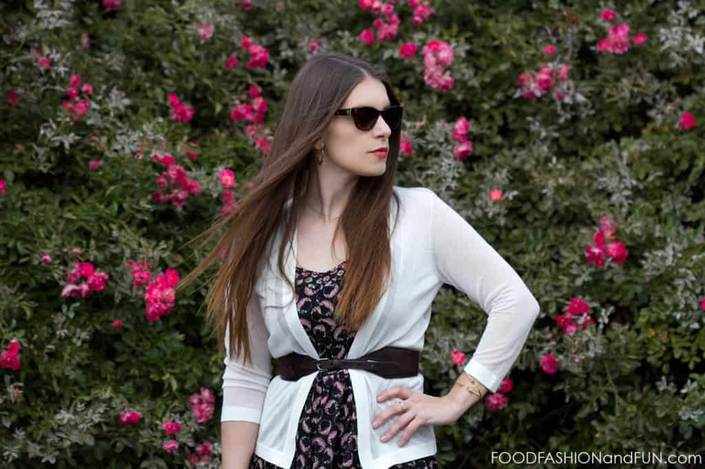 H&M, cardigan, dress, florals, belt, target, kohl's, purse, sunglasses, ray ban, shoes, sandals, food fashion and fun, outfit post, outfit of the day, fashion blogger, stella and dot, jewelry