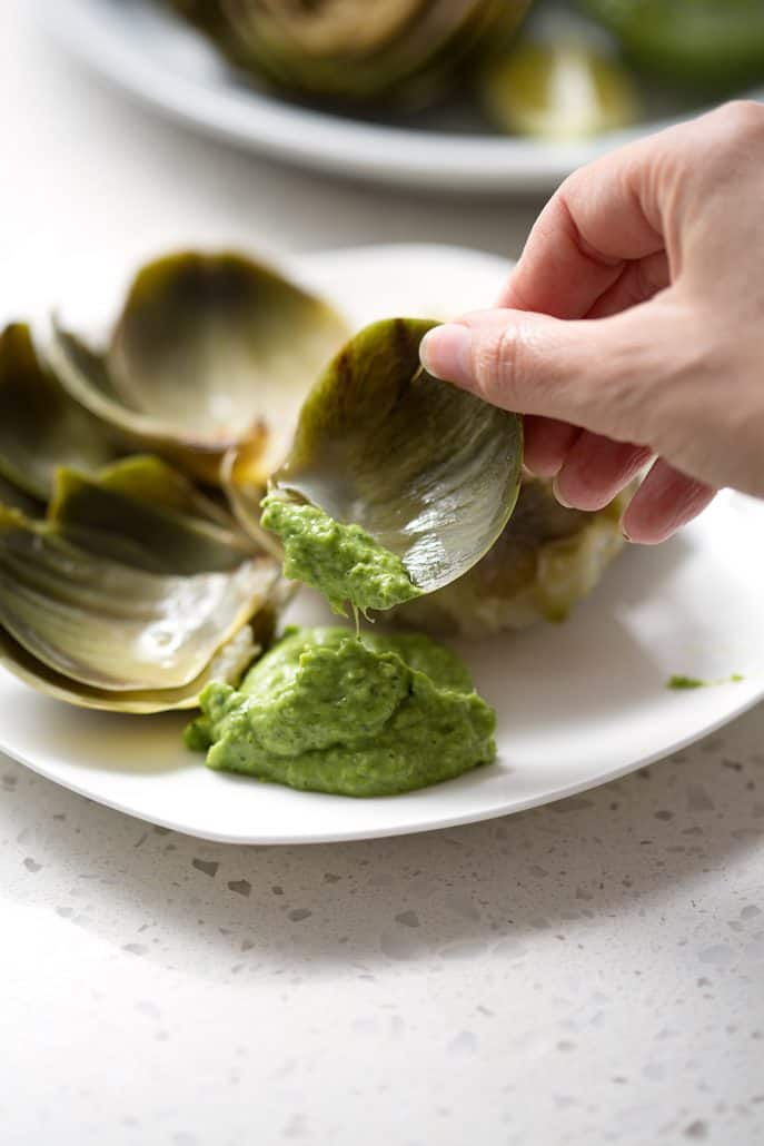 dipping artichoke leaf in green dip