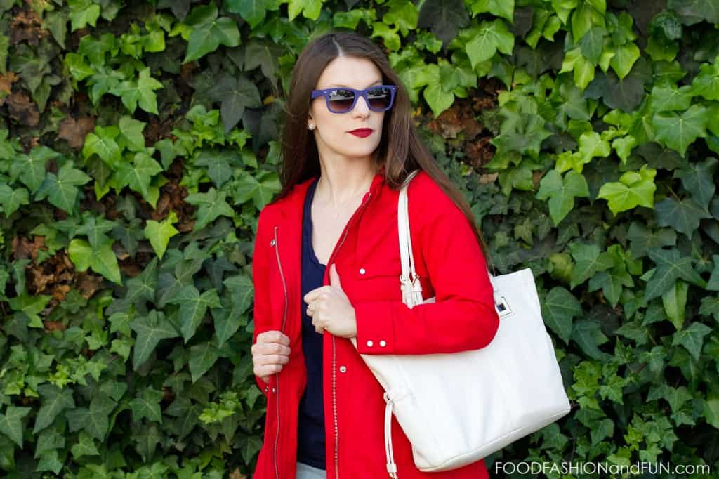 red jacket, h&M, white purse, red white and blue, t-shirt, kohl's, forever21, jeans, sunglasses, target, calvin klein, outfit pot, fashion blogger, food fashion and fun