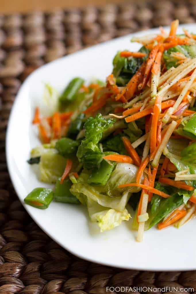 soy sauce dressing, grilled, romaine lettuce, carrots, apple, sugar snap peas, salad, food blogger, lifestyle blogger