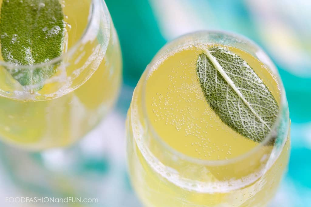 pineapple juice, sage, herb, syrup, simple syrup, cocktail, drink, champagne, prosecco