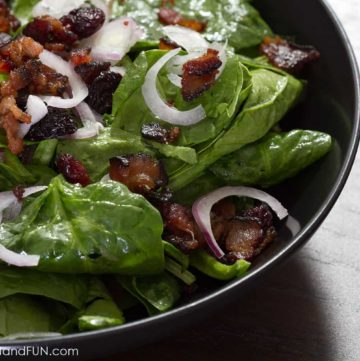 bacon, spinach, cherries, dressing, salad, food blogger, lifestyle blogger, foodfashionandfun