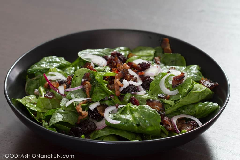 bacon, spinach, cherries, dressing, salad, food blogger, lifestyle blogger, foodfashionandfun