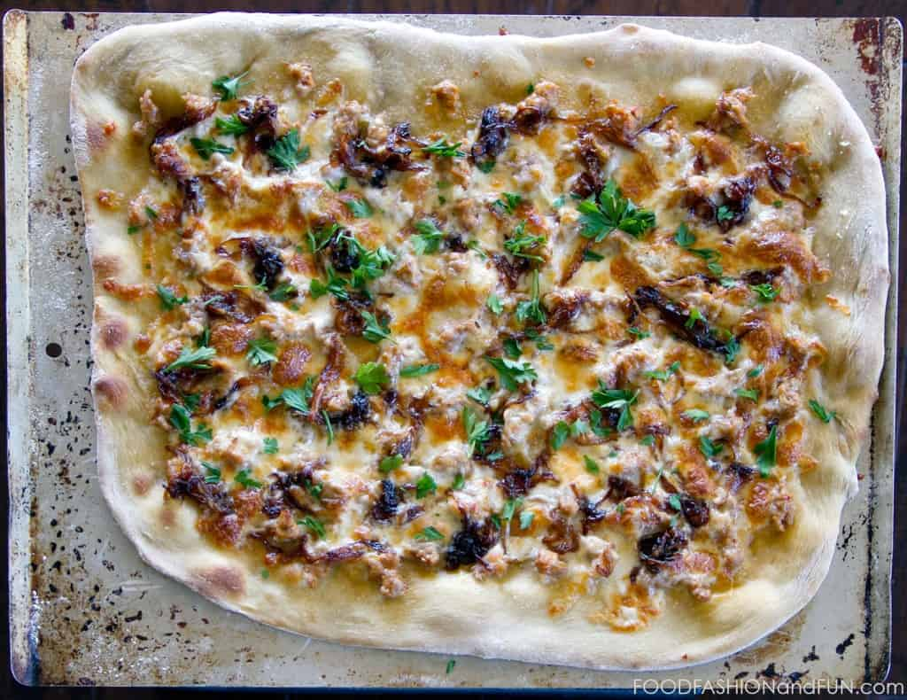 sausage, caramelized onion, pizza, cheese, food blogger, lifestyle blogger, food, recipe