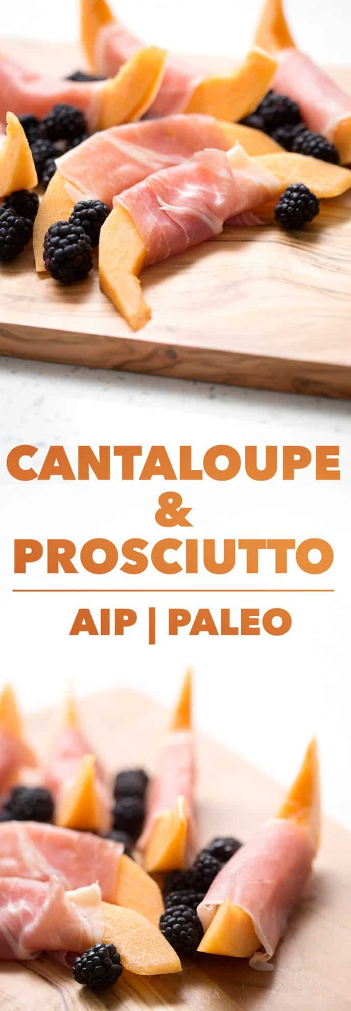 cantaloupe and prosciutto with blackberries on cutting board and white background