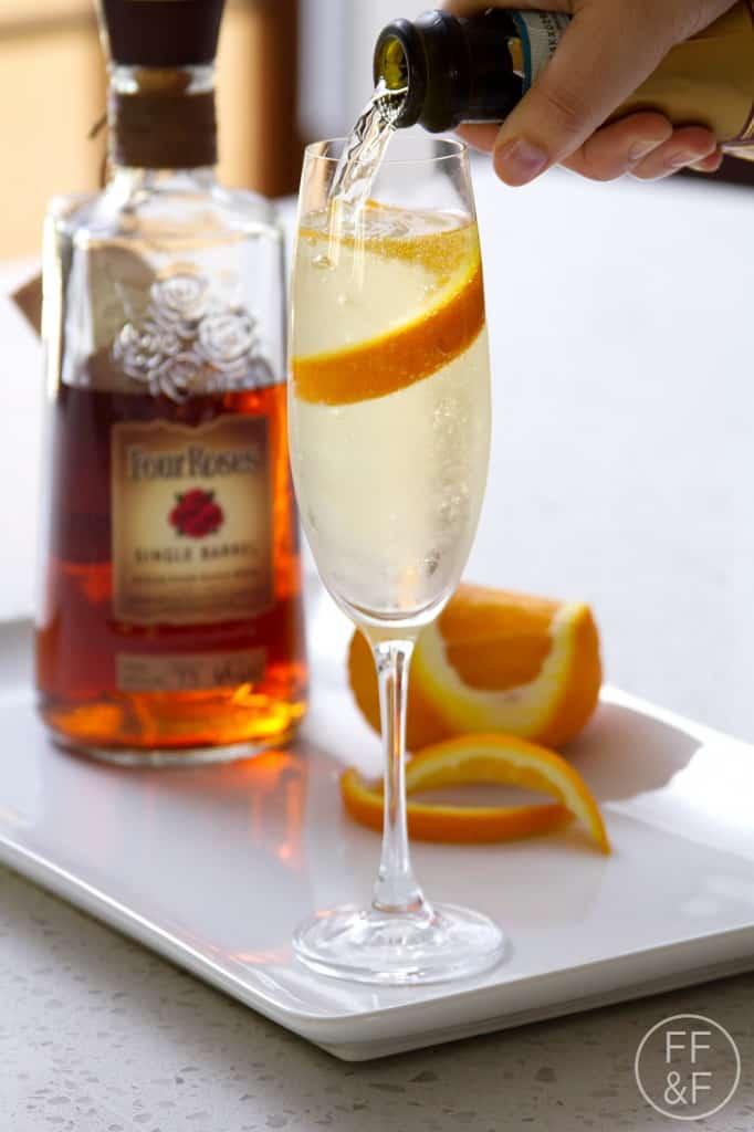 champagne, prosecco, bourbon, four roses, orange, cocktail, sparkling, drink, foodfashionandfun, food blog, lifestyle blog