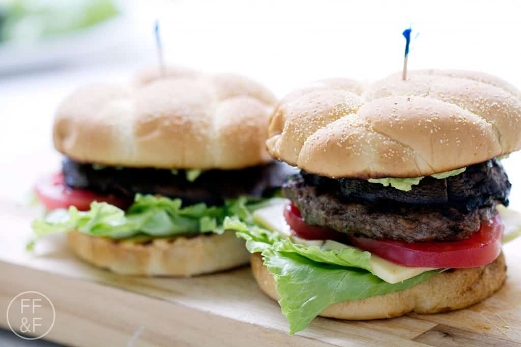His and Hers Portobello Mushroom Burgers - One is vegetarian and the other is packed with meat.
