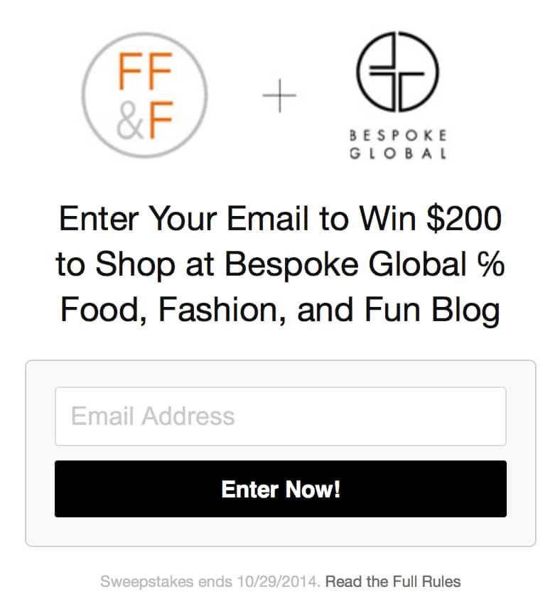 foodfashionandfun, giveaway, bespoke global, lifestyle blog,
