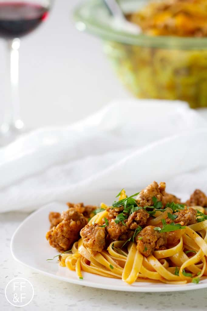 fennel fettuccini with sweet italian sausage from foodfashionandfun.com