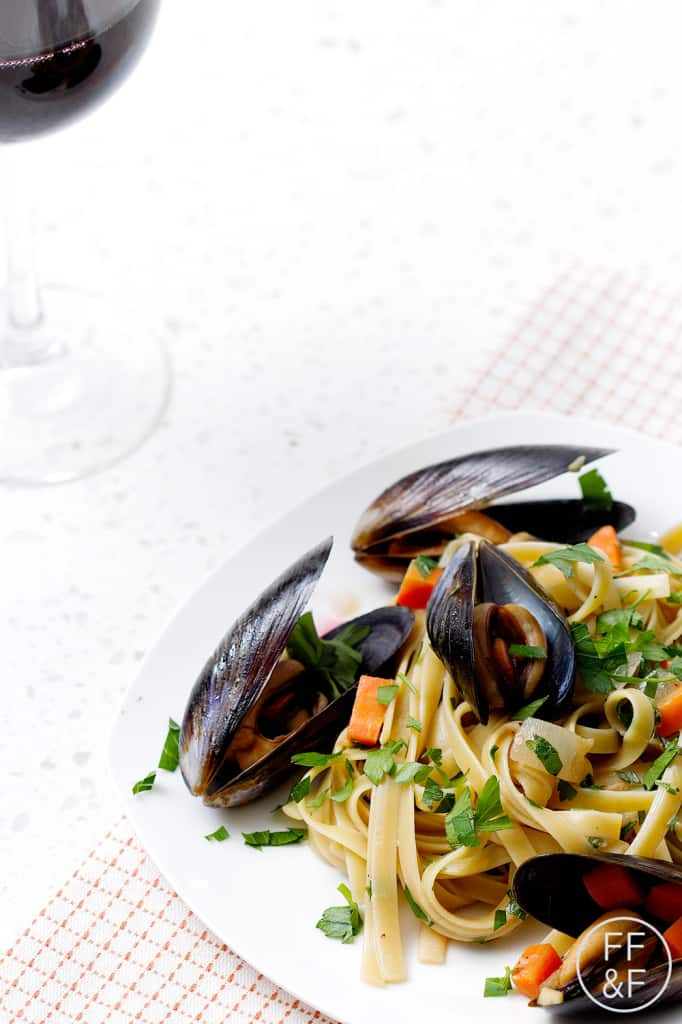 Beer Fettuccini with Mussels by foodfashionandfun.com