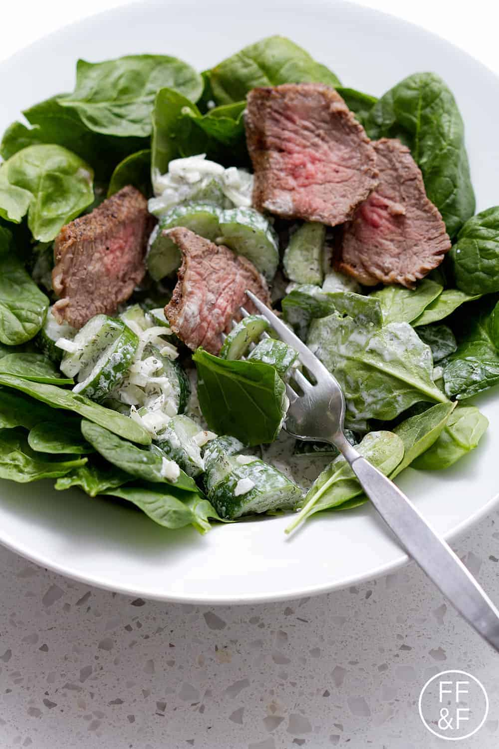 Tri Tip Spinach Salad with a Creamy Cucumber Dill Dressing from foodfashionandfun.com