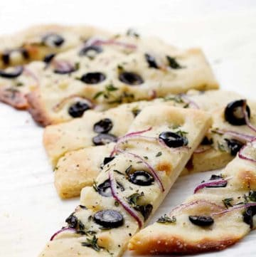 Herb Olive and Red Onion Focaccia from Foodfashionandfun.com