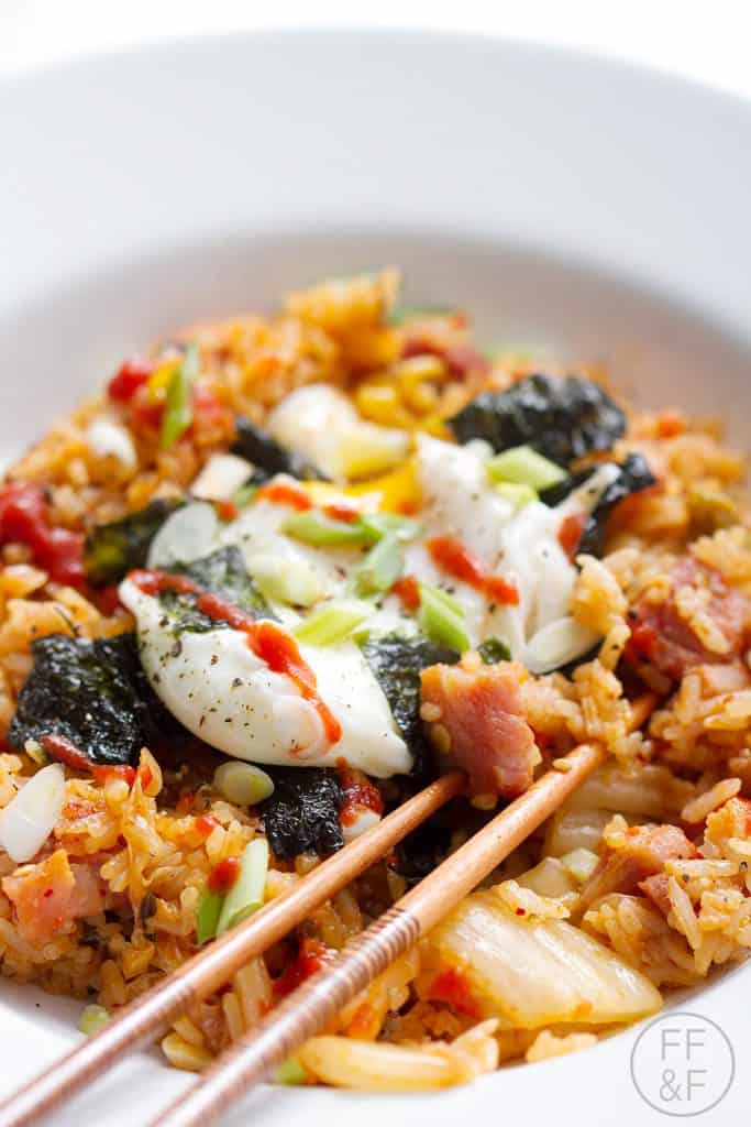 This Kimchi Fried Rice dish is the perfect recipe to use leftover ham and rice. This recipe can be made allergy friendly (gluten, dairy, shellfish, nut, egg, and soy free) and suits the paleo diet.
