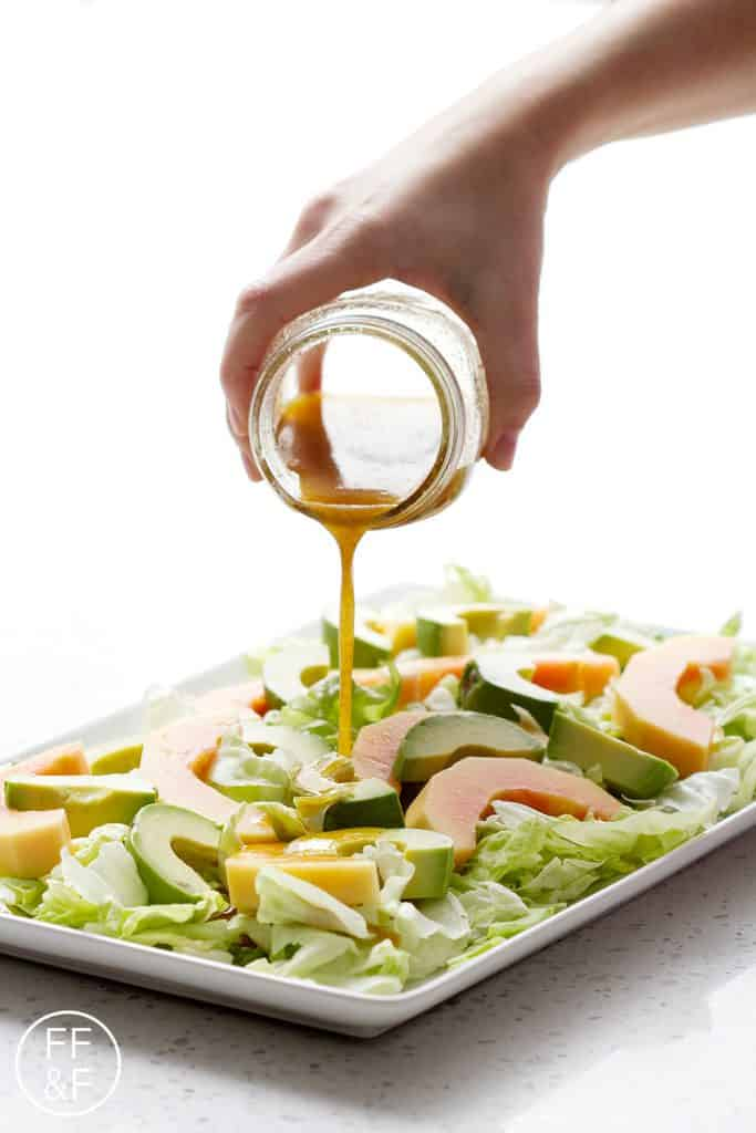 This Spicy Papaya and Avocado Salad has got a spicy dressing over sweet fruit and a cool, crisp lettuce makes for a delicious and different salad. This recipe is allergy friendly (gluten, dairy, shellfish, nut, egg, and soy free) and suits the autoimmune protocol diet (AIP), paleo and vegetarian diets.