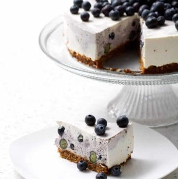 Lactose Free Blueberry Swirl Cheesecake