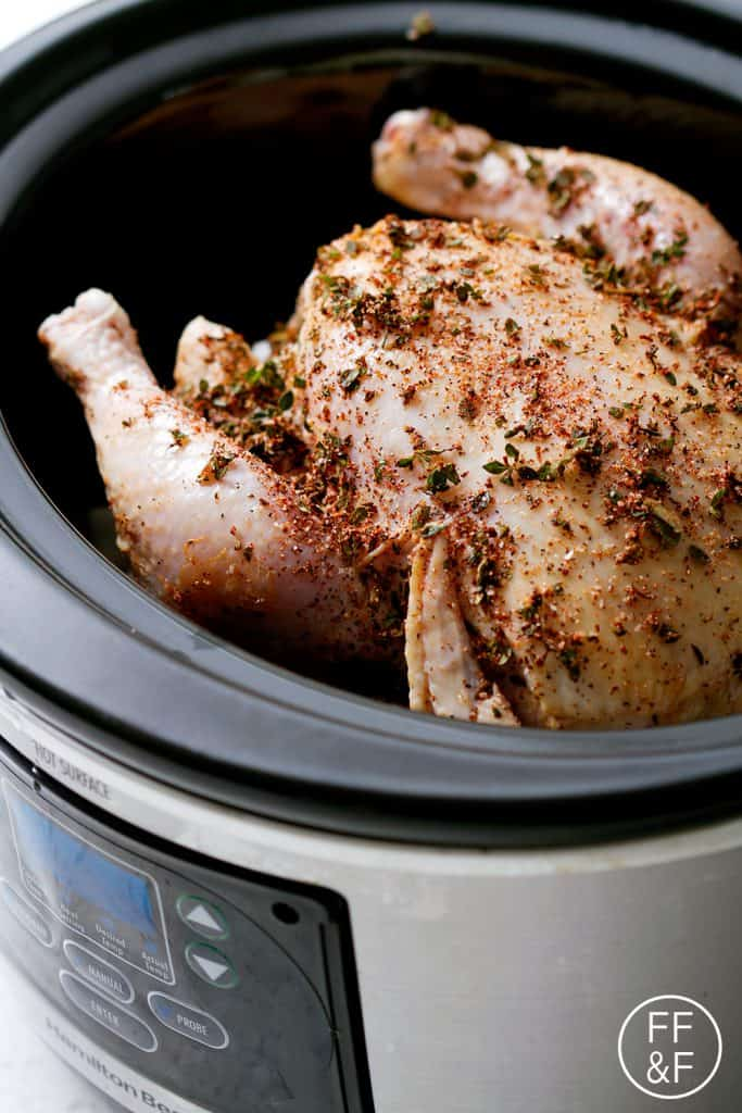 This Herb Rubbed Slow Cooker Whole Chicken is the easiest and juiciest roast chicken you'll ever make! This recipe is allergy friendly (gluten, dairy, shellfish, nut, egg, and soy free) and suits the paleo diet.