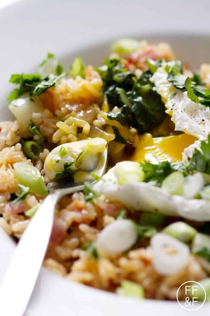 Spicy Bok Choy and Bacon Fried Rice is a take on traditional fried rice that's made with bok choy, bacon and then topped with a poached egg. This recipe is gluten, egg, and soy free.