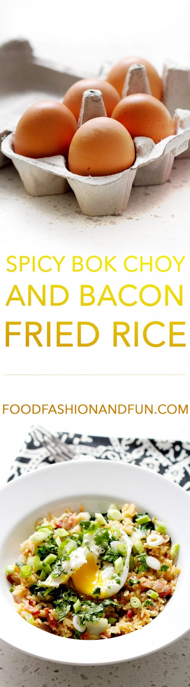 Spicy Bok Choy and Bacon Fried Rice is a take on traditional fried rice that's made with bok choy, bacon and then topped with a poached egg. This recipe is gluten, egg, and soy free and suits the autoimmune protocol diet (AIP) and paleo diets.