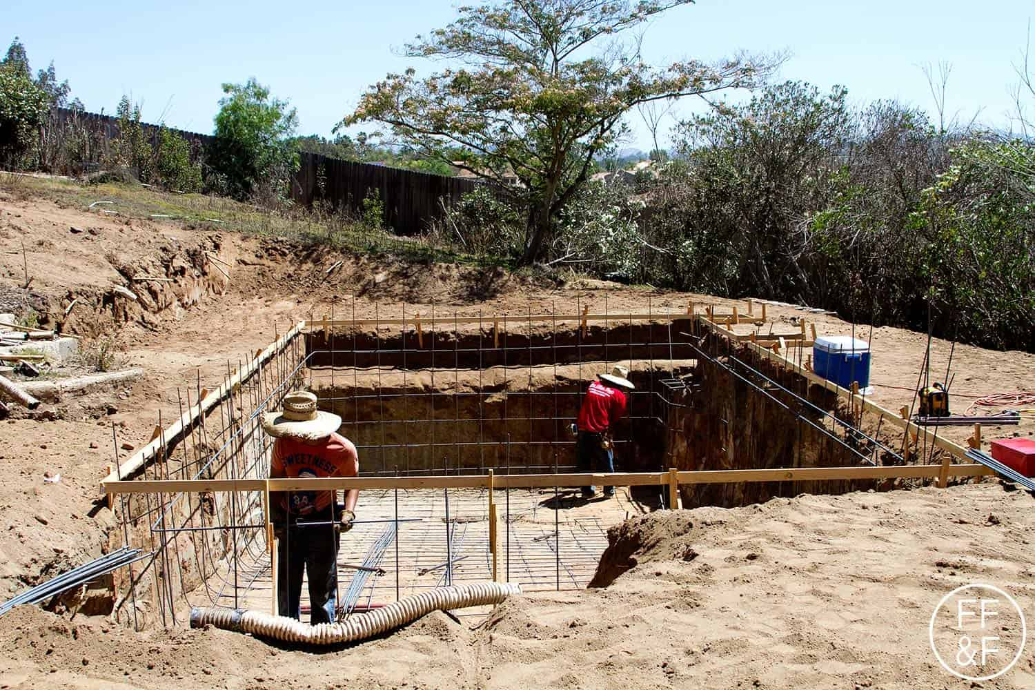 Installing the steel frame for the pool. #bethhomeproject