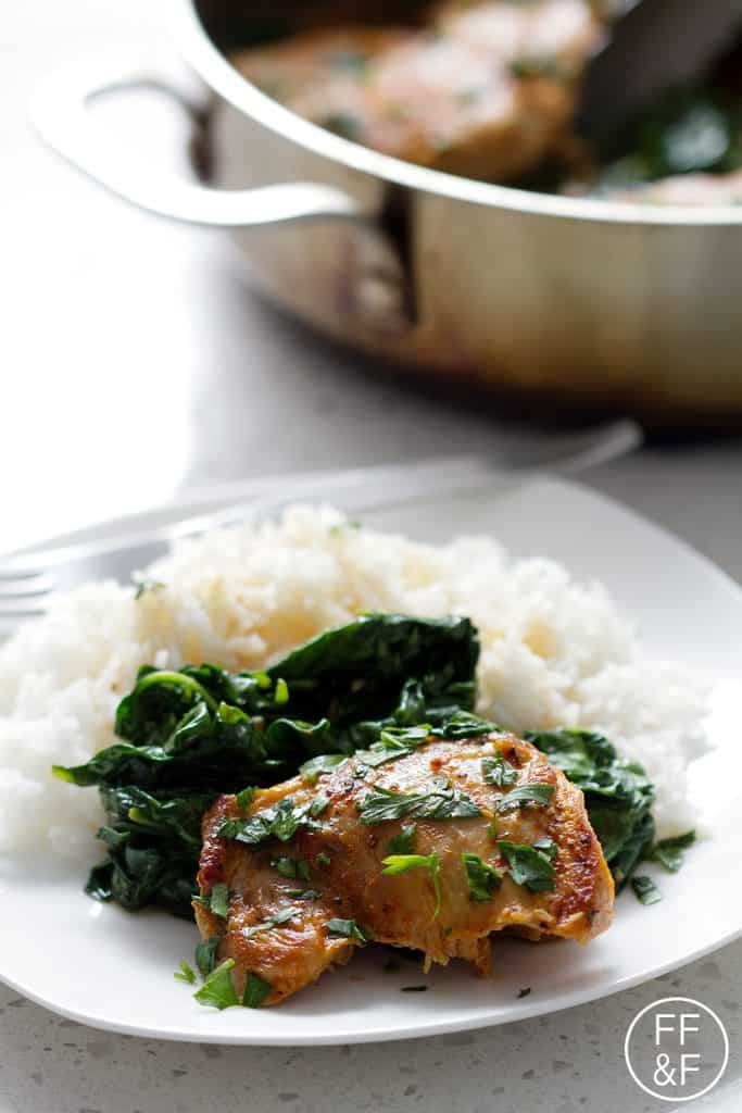 Rum Braised Chicken and Spinach from foodfashionandfun.com