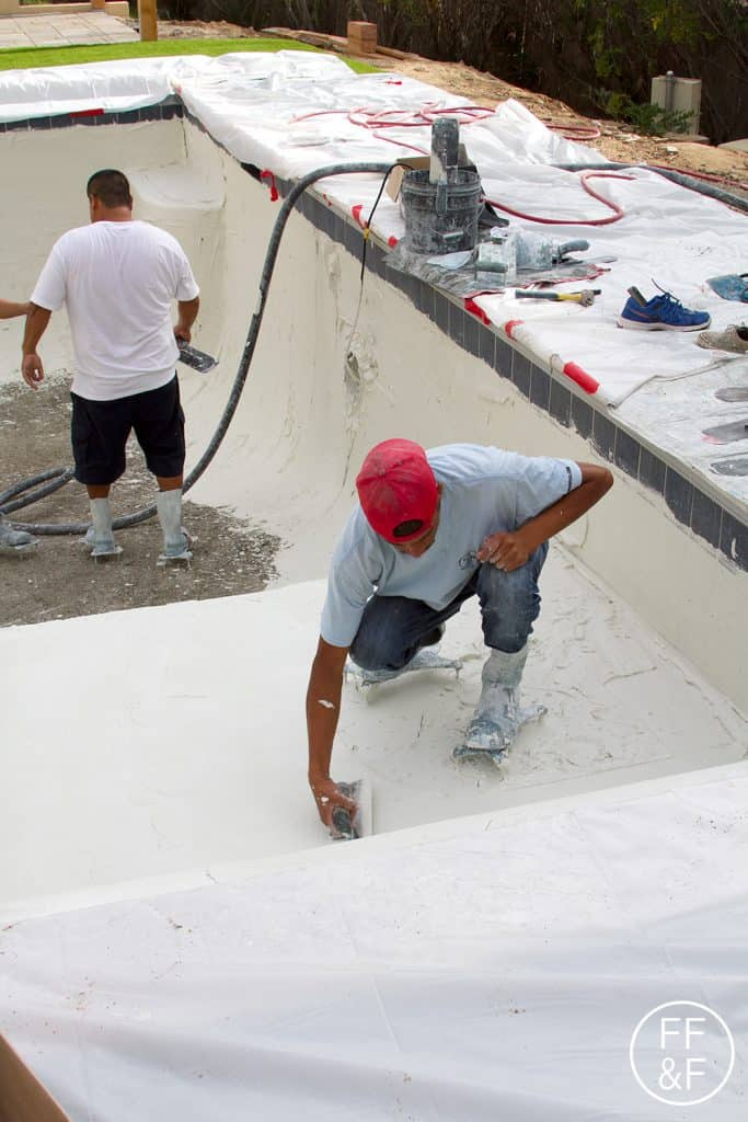 Applying plaster to the swimming pool. #bethhomeproject