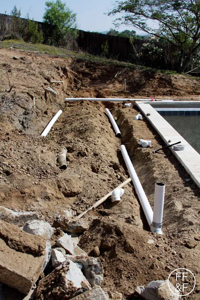 Front and backyard renovation drainage retaining walls for Outdoor ground drains
