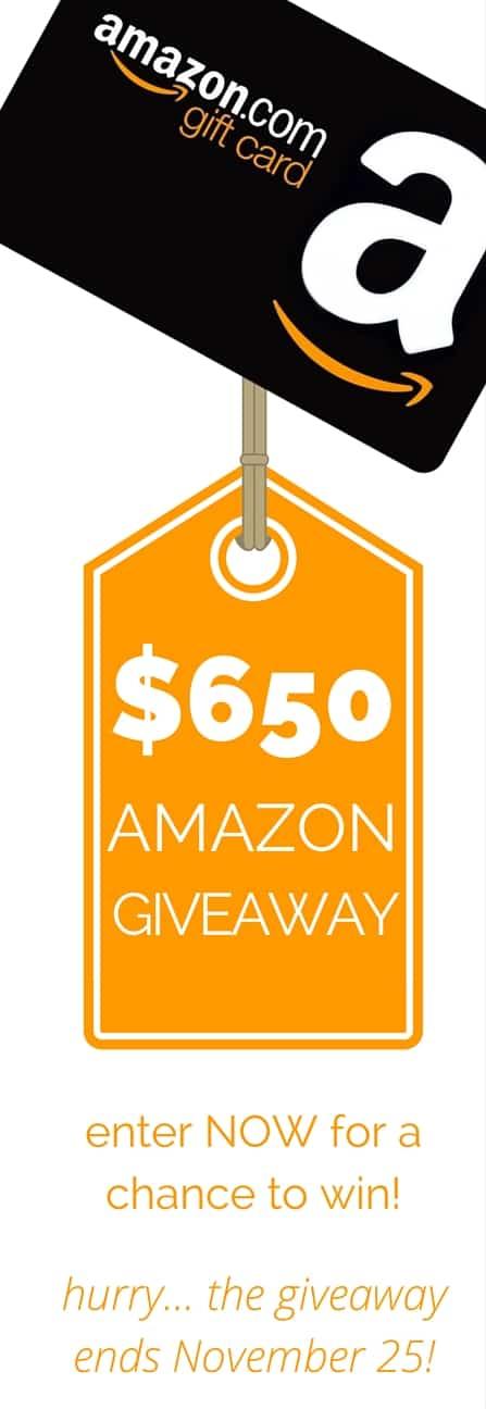$650 Amazon Gift Card Giveaway