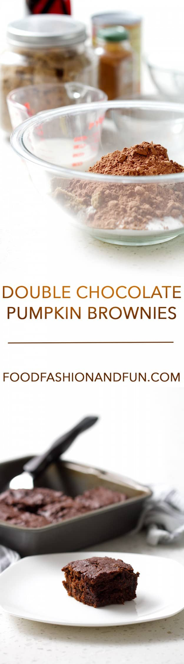 Double Chocolate Pumpkin Brownies. They are free of eggs and oil but uses pumpkin and spices to add flavor. It's a lighter brownie (but not a cake) that doesn't skimp on the fudgy goodness that is brownies.