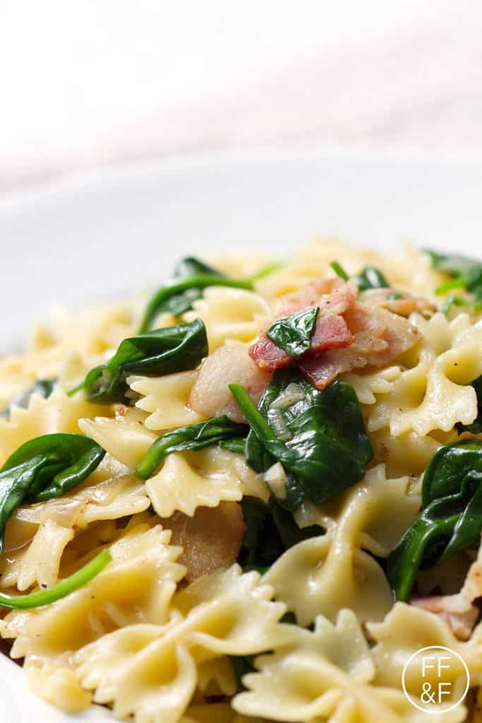 Bacon and Spinach Bow Tie Pasta