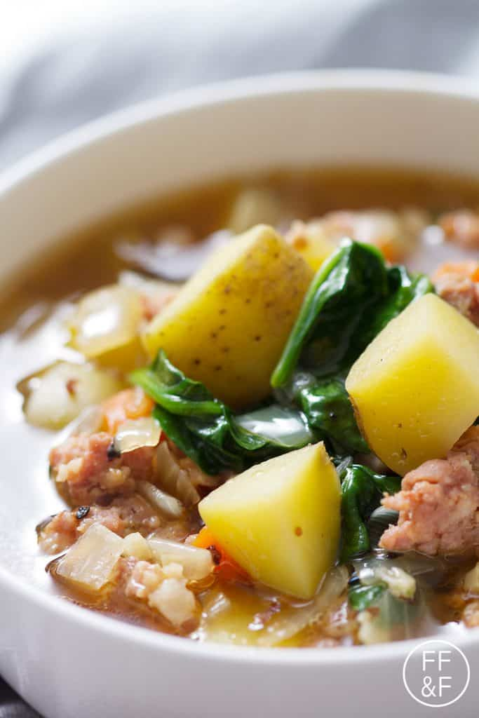 Sausage, Spinach and Potato Soup is a hearty and delicious way to stay ...