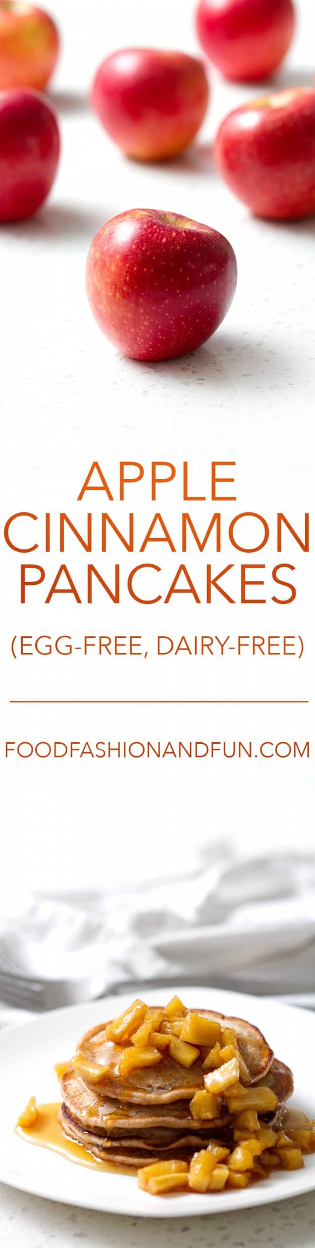 Apple Cinnamon Pancakes with Cooked Spiced Apples (egg-free, dairy-free)
