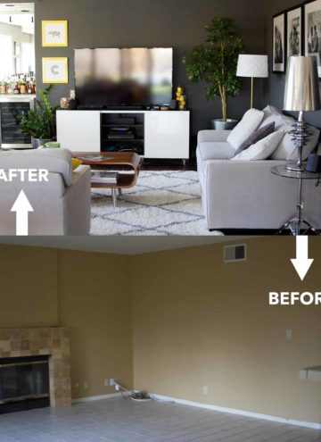 Living room before and after construction.