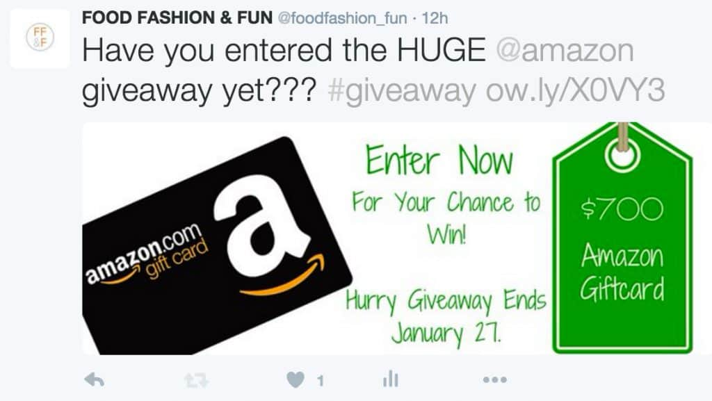 Sample Tweet to share for group giveaway promotion.