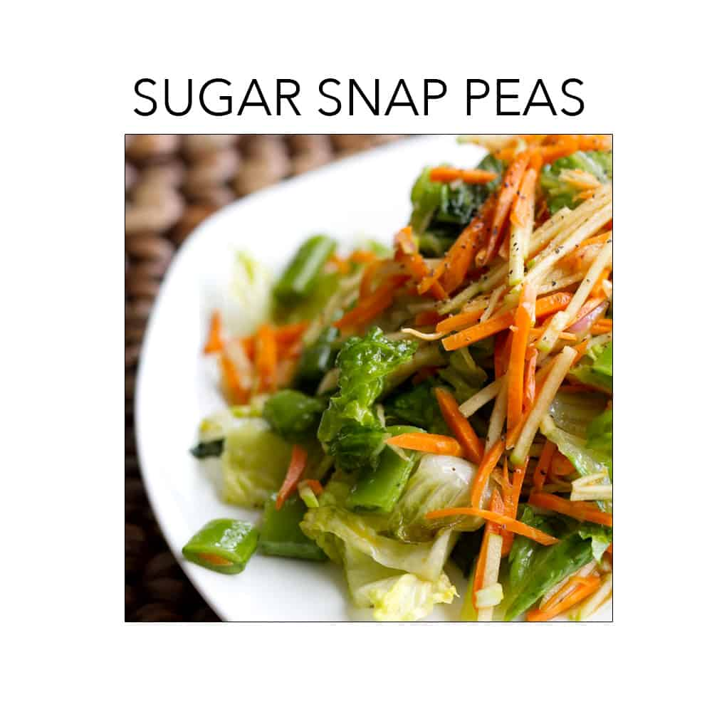 Sugar Snap Peas is in season right now. For recipes go to foodfashionandfun.com.