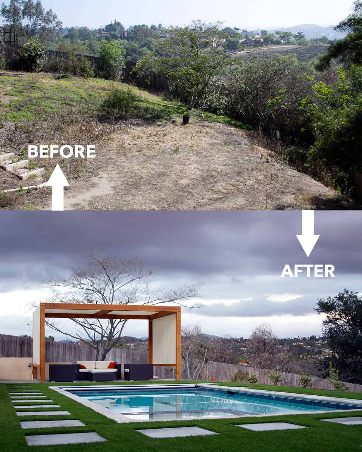Before and after photos of my backyard. Big change, right?!? You should see the rest of the photos!