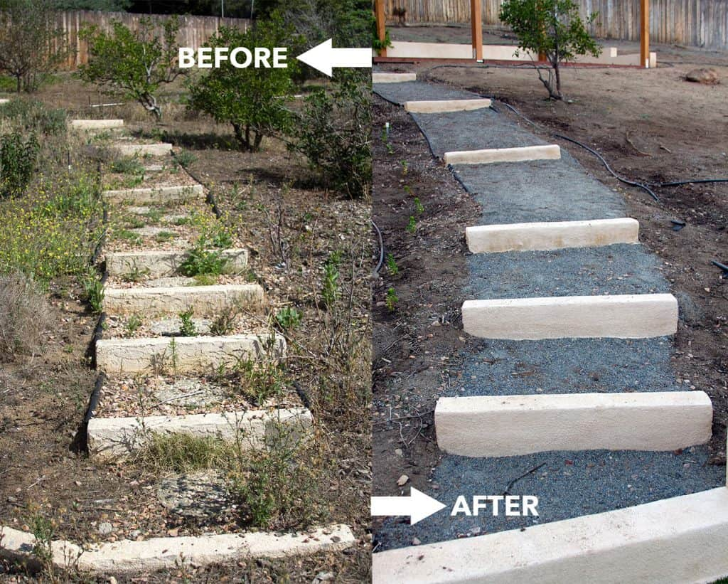 Here's the before/after photo of my backyard. Click to see more pics. It was a major transformation.