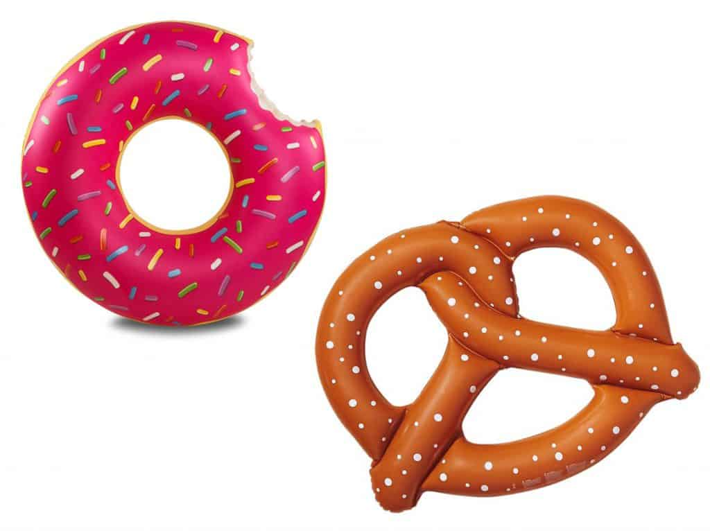 Don't take a bite out of these giant donut and pretzel pool floats.
