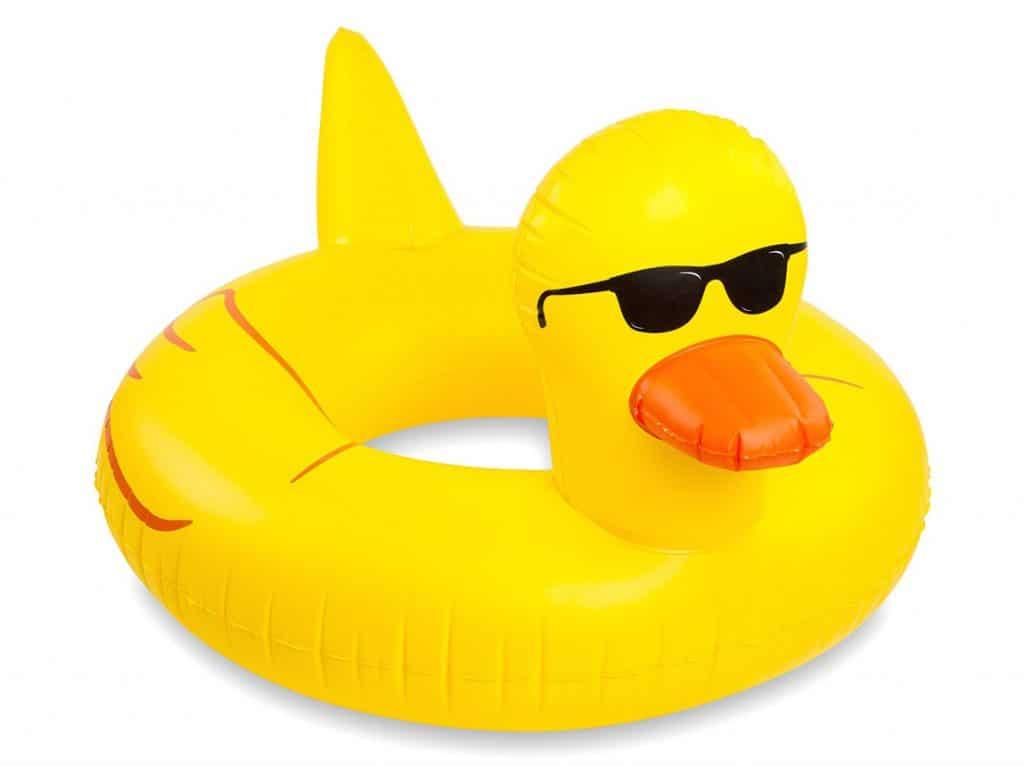 Giant Rubber Duckie Pool Float for summertime swim time.