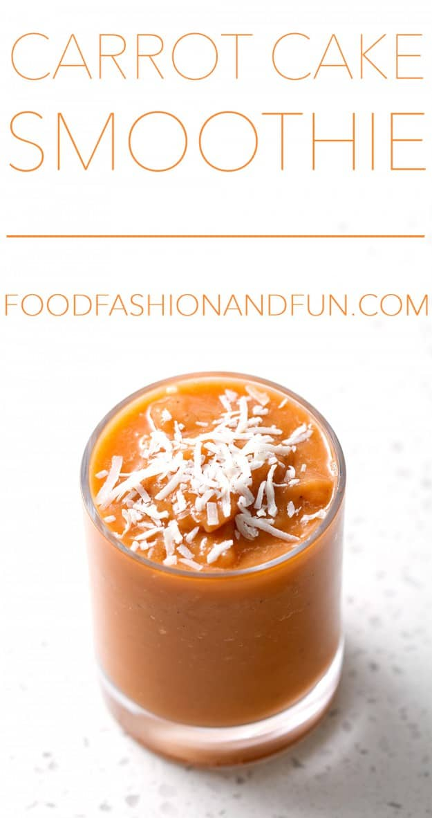 Carrot Cake Smoothie. It's made with carrot juice and no sugar so it's super healthy. This recipe is allergy friendly (gluten, dairy, shellfish, nut, egg, and soy free) and suits the autoimmune protocol diet (AIP), paleo and vegan diets.