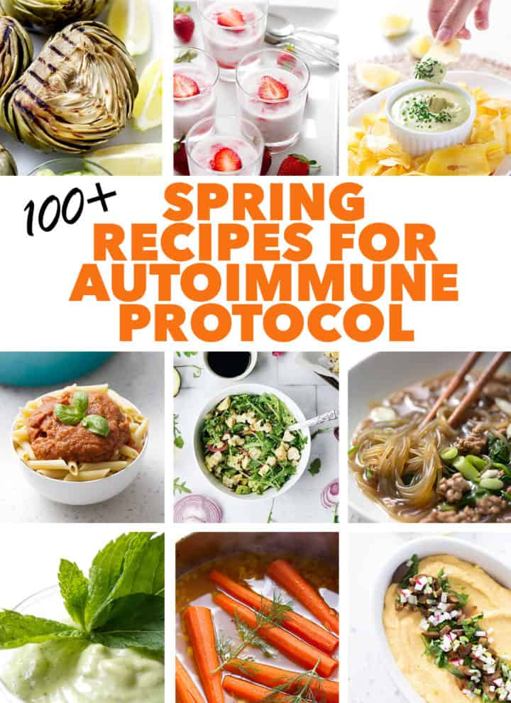 collage of food photos for AIP Diet Spring recipes post