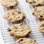 Chewy Chocolate Chip Cookies that are totally vegan. They're also made with pantry staples so you can make them at any time without needing to run to the store.