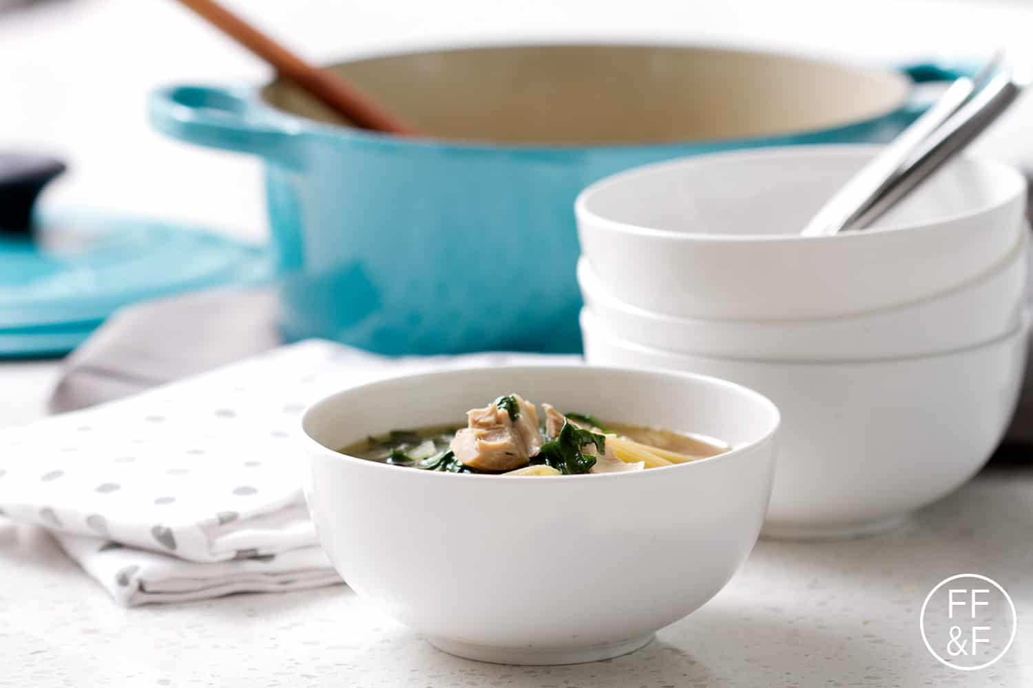 Chicken Noodle Soup with Penne Pasta and Spinach plus a Le Creuset + Simply Organics GIVEAWAY!