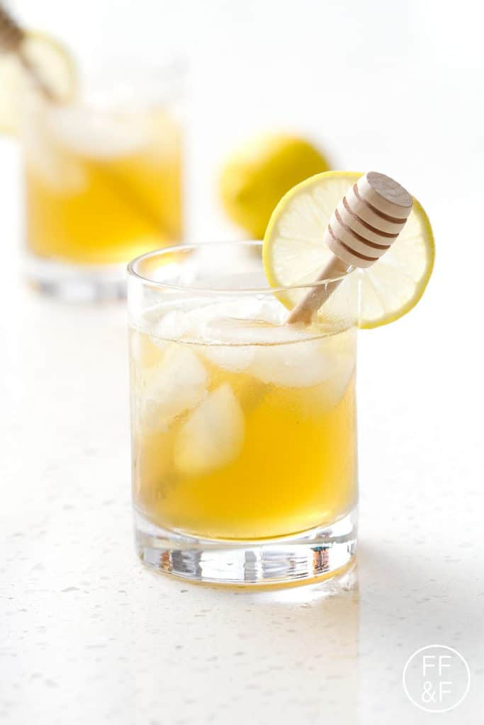 Honey simple syrup mixed with green tea and bourbon. It's sweet (green) tea with a twist. Refreshing and delicious!