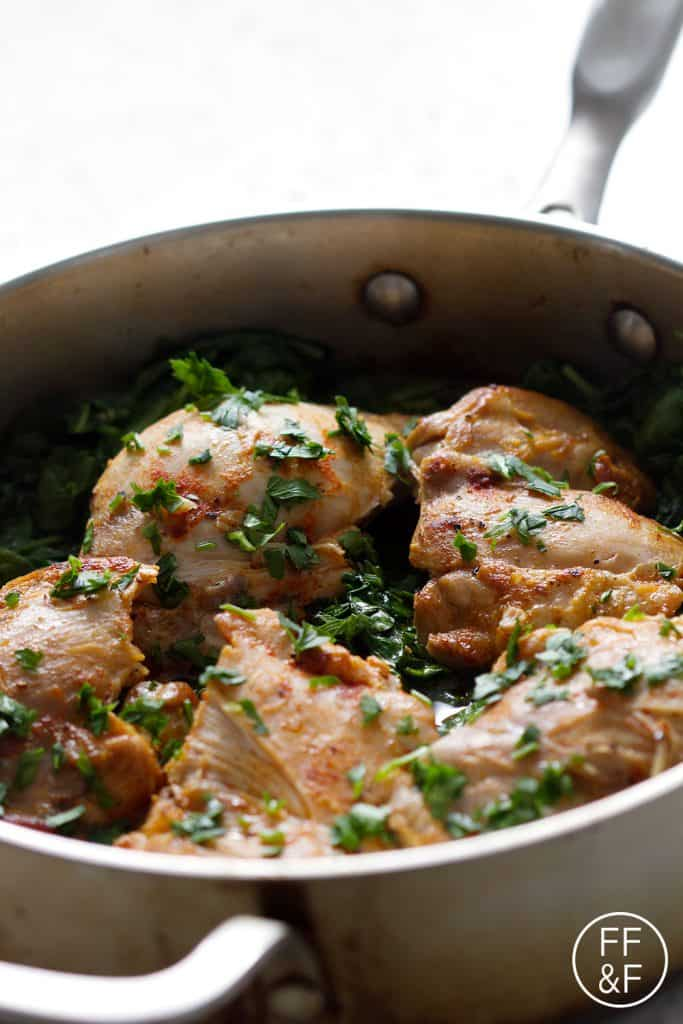 Rum Braised Chicken with Spinach