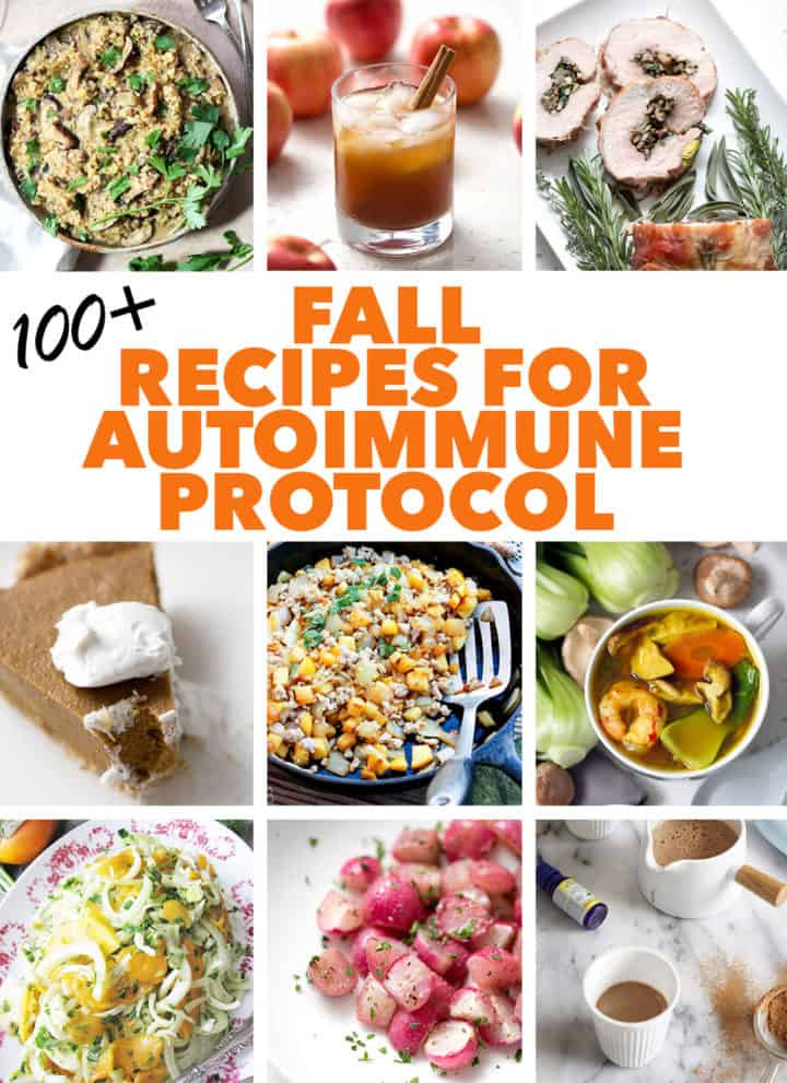 multiple images of fall AIP recipes with text
