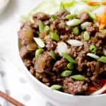 ground beef in bowl from above